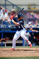 Reading Fightin Phils right fielder Jan Hernandez (3) at bat during the first game of a doubleheader against the Portland Sea Dogs on May 15, 2018 at FirstEnergy Stadium in Reading, Pennsylvania.  Portland defeated Reading 8-4.  (Mike Janes/Four Seam Images)