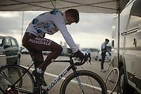 Steve Chainel (FRA) warming up<br /> <br /> UCI Worldcup Heusden-Zolder Limburg 2013