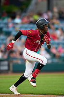 Altoona Curve Oneil Cruz (13) runs to first base during a game against the Erie Seawolves on September 7, 2021 at Peoples Natural Gas Field in Altoona, Pennsylvania.  (Mike Janes/Four Seam Images)