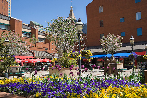 Outdoor restaurants at Writers Square downtown Denver, Colorado, USA John offers private photo tours of Denver, Boulder and Rocky Mountain National Park.