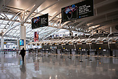 Queens, New York<br /> April 25, 2020<br /> John F. Kennedy (JFK) International Airport <br /> <br /> John F. Kennedy (JFK) International Airport Terminal 1 during the coronavirus epidemic in New York City.
