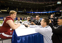 Barrett Jones of Alabama talks with the reporters during BCS Media Day at Mercedes-Benz Superdome in New Orleans, Louisiana on January 6th, 2012.