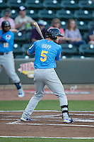 Ian Happ (5) of the Myrtle Beach Pelicans at bat against the Winston-Salem Dash at BB&T Ballpark on April 18, 2016 in Winston-Salem, North Carolina.  The Pelicans defeated the Dash 6-4.  (Brian Westerholt/Four Seam Images)
