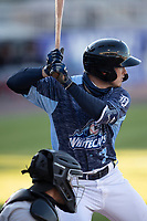 West Michigan Whitecaps shortstop Corey Joyce (7) at bat against the Great Lakes Loons at LMCU Ballpark on May 11, 2021 in Comstock Park, Michigan. (Andrew Woolley/Four Seam Images)