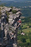 Europe/Europe/France/Midi-Pyrénées/46/Lot/Autoire: Escalade dans les falaises du Cirque d'Autoire [
