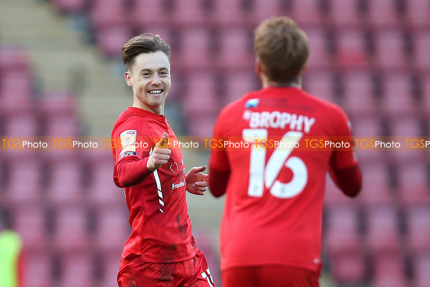 Dan Kemp of Leyton Orient scores the first goal for his team and celebrates during Leyton Orient vs Port Vale, Sky Bet EFL League 2 Football at The Breyer Group Stadium on 20th February 2021