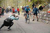 29th May 2021;  Giro D italia stage 20 Valle Spluga to Alpe Motta; Astana - Premier Tech Pronskiy, Vadim arrives in Alpe Motta