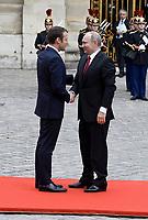 Emmanuel Macron recoit Vladimir Poutine à Versailles dans le cadre d'une visite de travail - Versaillles - 29/05/2017