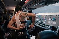 Koen de Kort (NED/Trek-Segafredo) getting ready on the teambus<br /> <br /> Stage 10: Annecy > Le Grand-Bornand (159km)<br /> <br /> 105th Tour de France 2018<br /> ©kramon