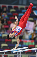 12th March 2020, Baku, Azerbaijan;  2020 Artistic World Cup Gymnastics Tournament;  CarlEdriel Yulo, PHI, during qualification parallel bars