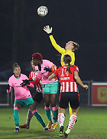 Goalkeeper Sari van Veenendal (1 PSV) attempts a save during a female soccer game between PSV Eindhoven Vrouwen and Barcelona, in the round of 32, 1st leg of Uefa Womens Champions League of the 2020 - 2021 season , Wednesday 9th of December 2020  in , Eindhoven, the Netherlands. PHOTO SPORTPIX.BE | SPP | SEVIL OKTEM