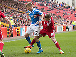 Aberdeen v St Johnstone…29.04.17     SPFL    Pittodrie<br />David Wotherspoon is tackled by Jonny Hayes<br />Picture by Graeme Hart.<br />Copyright Perthshire Picture Agency<br />Tel: 01738 623350  Mobile: 07990 594431