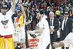 Real Madrid's Felipe Reyes, Sergio Rodriguez, Rudy Fernandez and the coach Pablo Laso celebrate the victory in the Euroleague Final Match. May 15,2015. (ALTERPHOTOS/Acero)