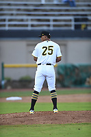 Bristol Pirates relief pitcher Luis Arrieta (25) prepares to throw to a batter during the game with the Burlington Royals at Boyce Cox Field on June 19, 2019 in Bristol, Virginia. The Royals defeated the Pirates 1-0. (Tracy Proffitt/Four Seam Images)