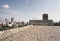 Tokyo: Sports Halls--rough granite flagstones. Kenzo Tange. Photo '81.