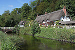 Great Britain, England, Hampshire, Wherwell: Cottage on banks of River Test