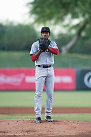 AZL Indians 2 starting pitcher Daritzon Feliz (55) looks in for the sign during an Arizona League game against the AZL Angels at Tempe Diablo Stadium on June 30, 2018 in Tempe, Arizona. The AZL Indians 2 defeated the AZL Angels by a score of 13-8. (Zachary Lucy/Four Seam Images)
