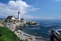 lighthouse, Cape Elizabeth, ME, Maine, Portland Headlight along the rocky coastline of the Atlantic Ocean.