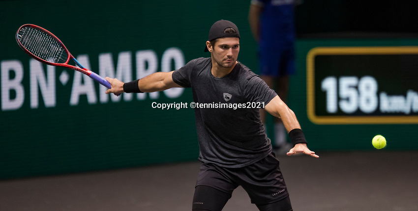 Rotterdam, The Netherlands, 2 march  2021, ABNAMRO World Tennis Tournament, Ahoy, First round match: Marcos Giron (USA).<br /> Photo: www.tennisimages.com/henkkoster