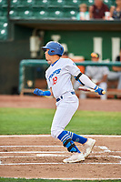 Miguel Vargas (18) of the Ogden Raptors bats against the Grand Junction Rockies at Lindquist Field on July 25, 2018 in Ogden, Utah. The Rockies defeated the Raptors 4-0. (Stephen Smith/Four Seam Images)