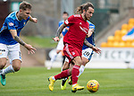 St Johnstone v Aberdeen…15.09.18…   McDiarmid Park     SPFL<br />Stevei May is closed down by Ross Callachan and Jason Kerr<br />Picture by Graeme Hart. <br />Copyright Perthshire Picture Agency<br />Tel: 01738 623350  Mobile: 07990 594431