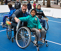 08-02-14, Netherlands,RotterdamAhoy, ABNAMROWTT,, Streettennis in wheelchairs in the center of Rotterdam with Maikel Scheffers (NED)  <br /> Photo:Tennisimages/Henk Koster