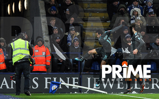 Pedro of Chelsea celebrates his goal during the FA Cup QF match between Leicester City and Chelsea at the King Power Stadium, Leicester, England on 18 March 2018. Photo by Stephen Buckley / PRiME Media Images.