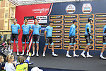 Astana Pro Team at sign on before the start of the 99th edition of Milan-Turin 2018, running 200km from Magenta Milan to Superga Basilica Turin, Italy. 10th October 2018.<br /> Picture: Eoin Clarke | Cyclefile<br /> <br /> <br /> All photos usage must carry mandatory copyright credit (© Cyclefile | Eoin Clarke)