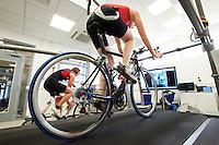 22 MAR 2012 - LOUGHBOROUGH, GBR - British triathlete Lucy Hall trains in the Performance Lab at Loughborough University .(PHOTO (C) 2012 NIGEL FARROW)