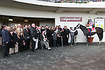2011 03 05:  Calibrachoa,  with Ramon Dominguez up,in the winners circle,  from winning the Grade 3 Tom Fool Stakes, for 3-year olds & up, at 6 furlongs, on the inner dirt track, Aqueduct Racetrack, Jamaica, NY. Trainer Todd Pletcher. Owner Repole Stables