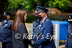 Assistant Commissioner Michael Finn with Diane Twohig wife of the late Garda Paudie Twohigs at his guard of honour by his Garda colleagues in Killarney on Tuesday.