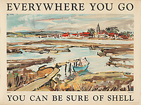 BNPS.co.uk (01202 558833)<br /> Pic: Lyon&Turnbull/BNPS<br /> <br /> Pictured: A poster featuring a landscape of Bosham in West Sussex is part of the sale<br /> <br /> A vast collection of vintage Shell posters have sold at auction for almost £60,000.<br /> <br /> The group of 49 sheets were sold directly from the oil giant's archives and featured some incredibly rare designs from down the years.<br /> <br /> All of the posters had previously been used in Shell advertising campaigns, dating back to between the 1920s and 1950s.<br /> <br /> Many of the colourful designed featured the slogan 'You can be sure of Shell' and list people who preferred their fuel.