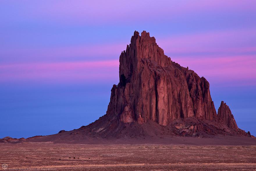 North America, USA, New Mexico. Ship Rock at sunrise.