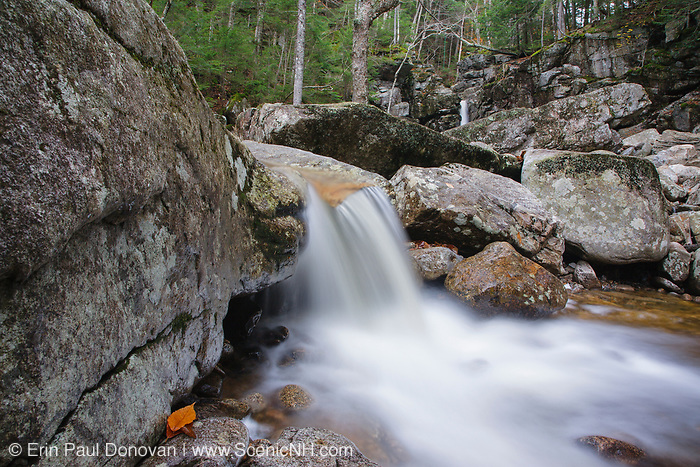 Cascade Brook, just below Kinsman Falls, in Lincoln, New Hampshire during the autumn months. These falls are located along the Basin-Cascades Trail, and are also known as Basin Falls and Tunnel Fall
