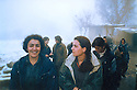 Iraq 2003.Qandil: Women fighters during the conference of PCDK, in the snow  Irak 2003. Neige a Qandil pendant la conference du PCDK
