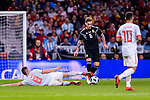 Lucas Biglia of Argentina (R) fights for the ball with Jorge Koke of Spain (L) during the International Friendly 2018 match between Spain and Argentina at Wanda Metropolitano Stadium on 27 March 2018 in Madrid, Spain. Photo by Diego Souto / Power Sport Images