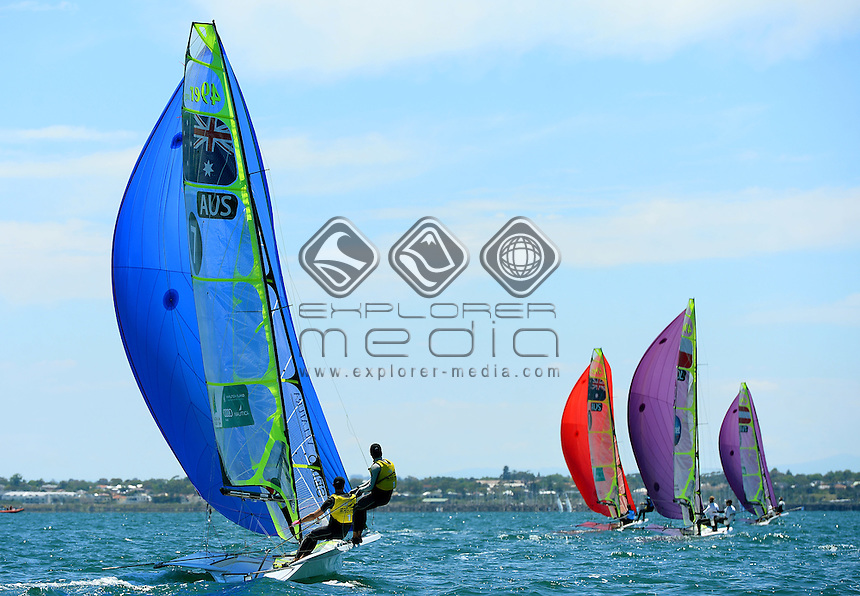 Dave Gilmour & Rhys Mara (AUS)<br /> Racing -Day 2 / 49er<br /> ISAF Sailing World Cup - Melbourne<br /> Sandringham Yacht Club<br /> Tuesday 10 December 2014<br /> © Sport the library / Jeff Crow