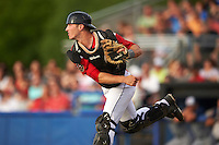 Batavia Muckdogs catcher David Gauntt (46) throws down to second during a game against the Brooklyn Cyclones on July 4, 2016 at Dwyer Stadium in Batavia, New York.  Brooklyn defeated Batavia 5-1.  (Mike Janes/Four Seam Images)
