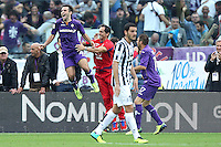 FLORENCE, Italy: October 20, 2013: AC Fiorentina beats FC Juventus 4-2 during the Serie A match played in the Artemio Franchi Stadium. In the photo Giuseppe Rossi celebrating the goal scored of 2-2
