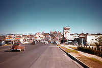 Vintage 1950s view of Congress Avenue looking north from South Congress to the Capitol in downtown Austin, Texas - Stock image.