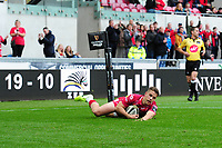 Kieran Hardy of Scarlets scores his sides fourth try during the Guinness Pro14 Round 02 match between the Scarlets and Zebre Rugby at the Parc Y Scarlets Stadium in Llanelli, Wales, UK. Saturday 12 October 2019