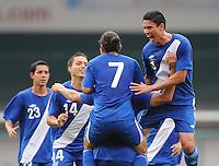 Guatemala midfielder Wilfred Velasquez (6) celebrates Manuel Leon's score.   Guatemala tied Paraguay 3-3 in a international friendly match at RFK Stadium, Wednesday August 15, 2012.