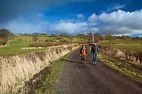 Two walkers in Uplawmoor, East Renfrewshire