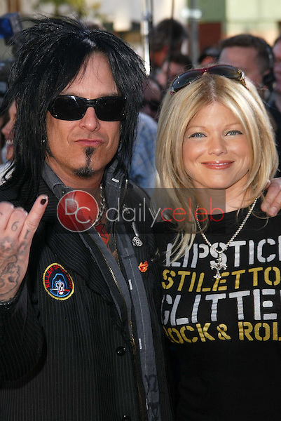 """Nikki Sixx and Donna D'Errico<br /> at the """"Star Wars: Revenge Of The Sith"""" Los Angeles Premiere, Mann Village, Westwod, CA 05-12-05<br /> David Edwards/DailyCeleb.Com 818-249-4998"""