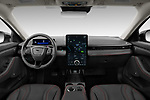 Stock photo of straight dashboard view of 2021 Ford Mustang-Mach-E - 5 Door SUV Dashboard