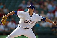 Round Rock Express starting pitcher Michael Kirkman (50) delivers a pitch to the plate against the Oklahoma City RedHawks during the Pacific Coast League baseball game on August 25, 2013 at the Dell Diamond in Round Rock, Texas. Round Rock defeated Oklahoma City 9-2. (Andrew Woolley/Four Seam Images)