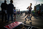 © Joel Goodman - 07973 332324 . 15/10/2017 . Manchester , UK . Athletes taking part in the Greater Manchester Half Marathon in Old Trafford . Photo credit : Joel Goodman