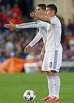 Real Madrid's Cristiano Ronaldo and James Rodriguez during Champions League 2014/2015 Quarter-finals 1st leg match.April 14,2015. (ALTERPHOTOS/Acero)