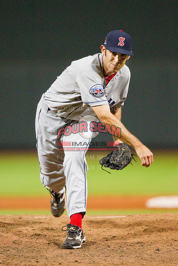 Salem Red Sox relief pitcher Andrew Jones #31 in action against the Winston-Salem Dash at BB&T Ballpark on May 5, 2012 in Winston-Salem, North Carolina.  The Red Sox defeated the Dash 6-4.  (Brian Westerholt/Four Seam Images)