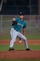 AZL Mariners relief pitcher Danny Chang (18) during an Arizona League game against the AZL Giants Orange on July 18, 2019 at the Giants Baseball Complex in Scottsdale, Arizona. The AZL Giants Orange defeated the AZL Mariners 7-4. (Zachary Lucy/Four Seam Images)
